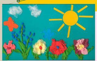 Аппликации из бумаги для младших дошкольников на тему: лето