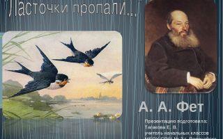 Конспект урока литературного чтения «школа россии», 2 класс. фет «ласточки пропали…»