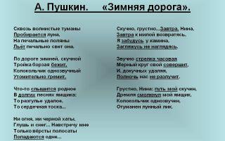 Пушкин «зимняя дорога»