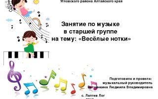 Конспект музыкального занятия в старшей группе детского сада